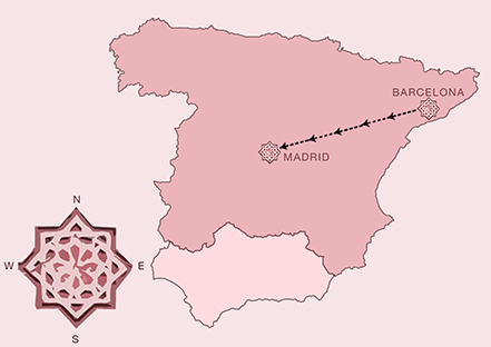 Barcelona and Madrid Tour Map